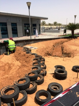 Landscaping work starts and tyre wall goes up